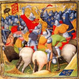 English fighting the French knights at the Battle of Crecy