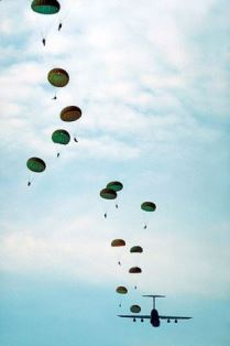 parachutes and paratroopers